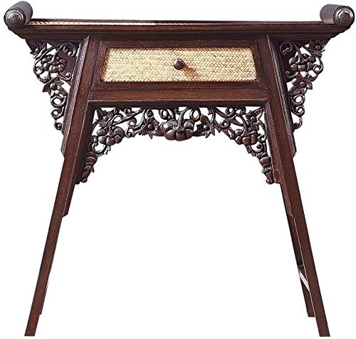 Simple and Creative Decoration Furniture Thai Hollow Out Entrance Table Southeast Asian Bamboo Weaving Side Table Hall Console Handcarved Sofa Table, Y-Z, Brown, 95x37x82cm