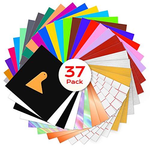 BOENFU 37 Satz Vinylfolien Klebefolie, 33 Selbstklebende Vinylfolie + 4 Transferfolie, 30.5 *30.5 cm Vinyl Blätter für Keramik, Glas, Kerzen, Metall, Kunststoff, Modellbau
