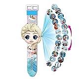 Montre projecteur 20 Figurines Elsa La Reine des Neiges 2, Montre electronique Enfant Fille, Projection Jouets