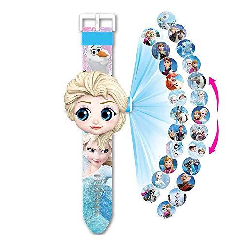 Armbanduhr mit Projektor, 20 Figuren, Elsa Die Eiskönigin 2, Elektronische Armbanduhr für Kinder und Mädchen, Projektion Spielzeug