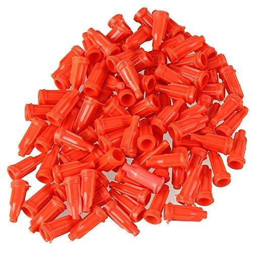 Hinter 100 Spritzen Luer Stop Kappen Orange Kunststoff Schraub-Spender Industrie Spritzen Tip Cap Klebstoff Werkzeug