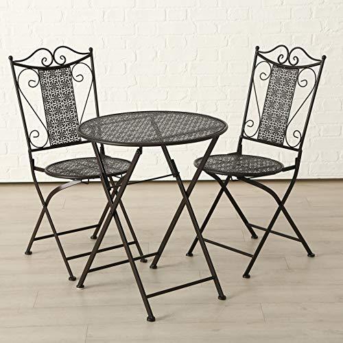 B&B Tisch Set 2 Stühle Broder Gartentisch Braun Gartenstuhl Garten Stuhl Eisen