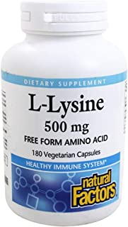 Natural Factors - L-Lysine, Supports Healthy Immune System Function, 180 Vegetarian Capsules