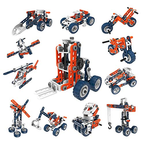 QOGELY STEM Building Toys for Kids - 12 in 1 Erector Set Educational Construction Blocks for Creative Player, Best Birthday for 6-12 Year Old Boys & Girls