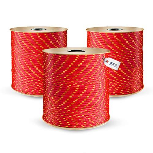 DQ-PP POLYPROPYLENSEIL | 5mm | 100m | ROT Polypropylen Seil | Tauwerk PP Flechtleine Textilseil Reepschnur Leine Schnur Festmacher Rope Kordel Kunststoffseil Kletterseil geflochten