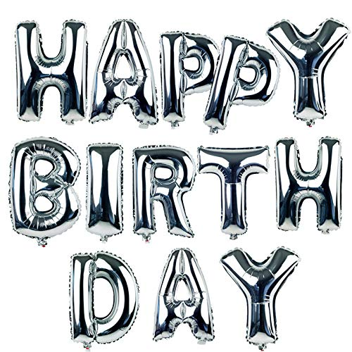 16' Happy Birthday Alphabet Letters Balloons Foil Balloons Mylar Balloons Party Decoration Balloons, Silver
