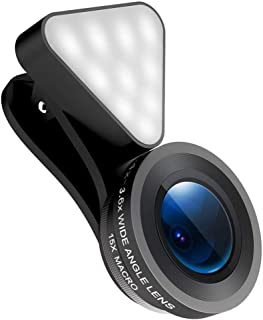 スマートフォンレンズ LEDライト 0.36倍の広角15倍のマクロレンズ 小型クリップ式 美容自撮り 140幅の視野 USB充電 レンズセット平板 iPhone Androidに使用可能 全機種対応