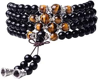 Tiger Eye Crystal Gemstone Bracelet Tibetan Buddhist Buddha Meditation 108 Obsidian Prayer Bead Bracelet