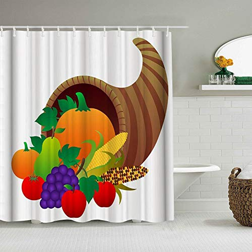 QINCO Duschvorhang,Äpfel Orangen Birnen Trauben & Mais sind in Säcken verpackt,personalisierte Deko Badezimmer Vorhang,mit Haken,180 * 180