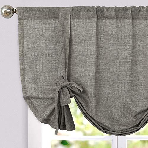 jinchan Tie Up Valance for Kitchen Living Room Linen Textured Adjustable Tie-up Curtains Light Filtering Rod Pocket Drapes 1 Panel 45 Inches Charcoal Grey