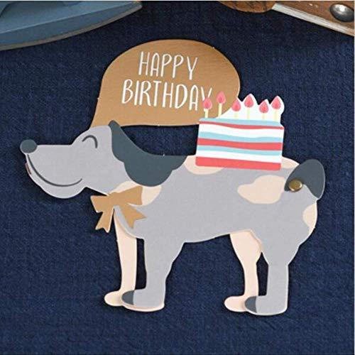 Wenskaarten BLTLYX 1pc Schattige dieren Vorm Gelukkige verjaardagskaarten met envelop voor kinderen Verjaardagsfeestje Benodigdheden Wenskaart Decor Geschenkaccessoires 10,5 * 13,7 cm Hond B als foto
