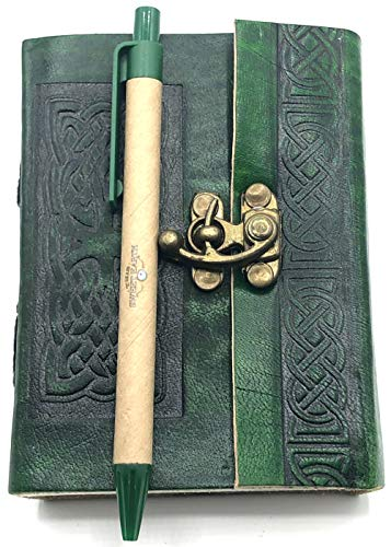 This Sweet Earth Leather Journal Diary with Latch Celtic or Tree of Life Design with Pen (Green Celtic, 3.5' x 5')