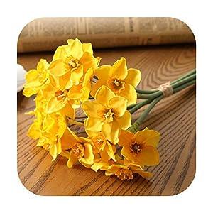 F-pump 6Pcs/Lot Home Room Artificial Simulation Narcissus Flower Living Room Window Decor Fake Flowers Wedding Scene Decor Daffodil-Yellow-