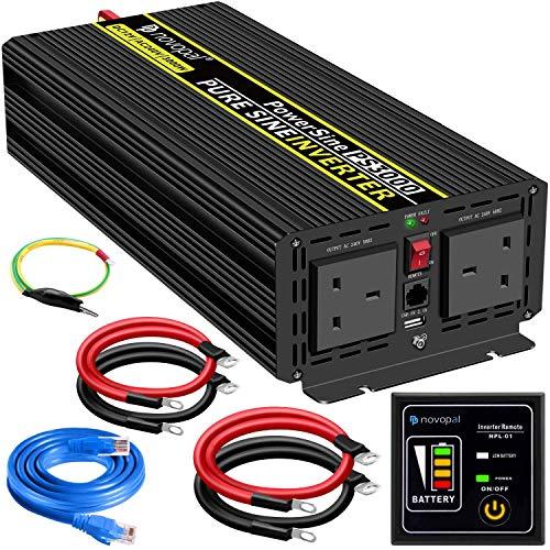 YHDQ Coche inversor de Potencia Wave-3000 Watt 12V DC a 230V / 240V AC convertidor-2AC inversor Coche con un Puerto USB-5 Medidor de Control Remoto y Dos Ventiladores de enfriamiento-Pico de Potencia