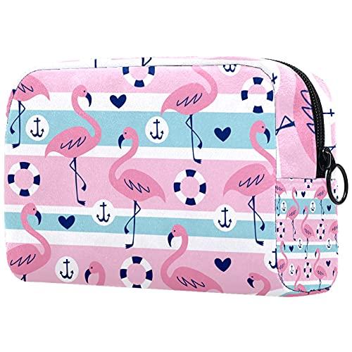 FURINKAZAN Summer Flamingo Ancla Anillo Corazón Patrón de Viaje Bolsa de Maquillaje Bolsa de Artículos de tocador Bolsa de Maquillaje Hombres y Mujeres