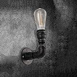 HUAQINEI Fashion Amazing Retro E27 Edison 1-Light Water Pipe Lámpara de Pared Industrial Steampunk Iron Wall Lights Vintage Wall Sconce Machine Age Metal Loft Iluminación Antigua Luminaria 110-240V