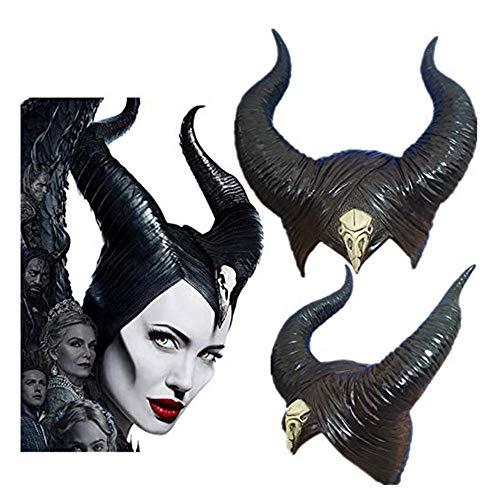 KAIMENG Halloween Königin Hörner Helm Cosplay Kostüm Latex Frauen schwarz böse Kopfbedeckung Stirnband Dekoration Erwachsene Hörner Hut für böswilliges Cosplay, Party