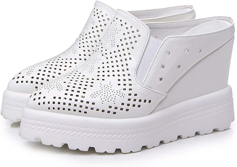 Zarbrina Women Wedges Solid Footwear Pointed Toe Hollow Polka Mules High Platform Summer Slides shoes Non-Slip Sole