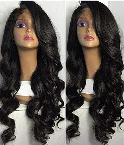 Fyonas Lace Front Wigs Loose Wave Long Glueless Replacement Wig for Women Natural Hairline Half Hand Tied Synthetic Hair Heat Resistant Fiber 1b Color 24 inches