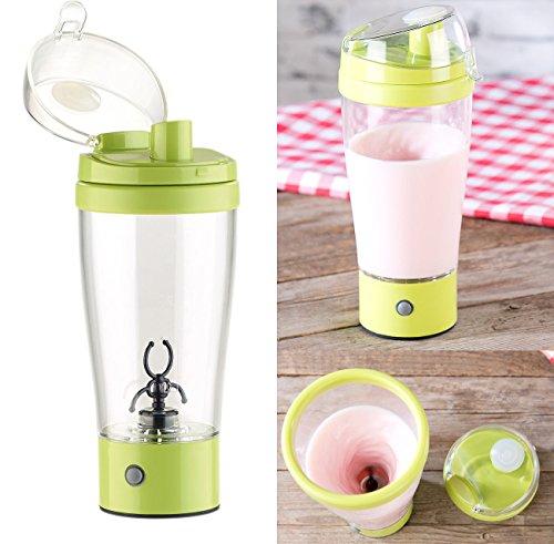 Rosenstein & Söhne Shaker: Selbstrührender Trinkbecher mit elektrischem Quirl, 450 ml, BPA-frei (Mixbecher)