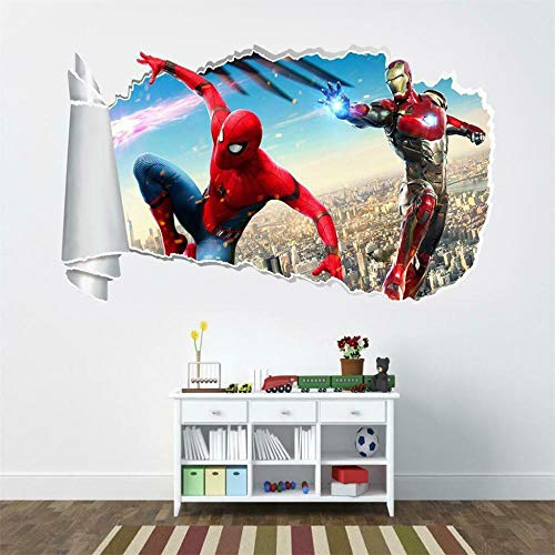 HQSM Pegatinas de pared Iron super movie Spider 3D Torn Hole Wall Sticker Decal Art