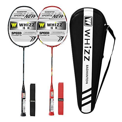 Whizz Kratzfestes Design Badminton Schläger Racket Set mit Tasche Griffband, 100{90976cb13c8d4854414410935bb178136a1bf899dcb2c6529a7d34f5742a68de} Graphit (Y56 Schwarz+Rot)