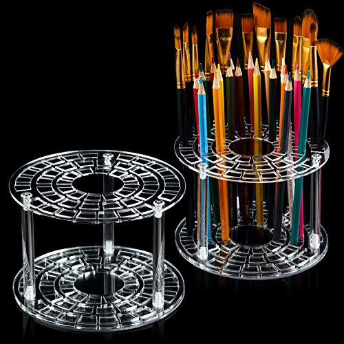 2 Sets 49 Hole Pencil Brush Holder 6 x 4 Inch Clear Acrylic Pen Holder Desk Stand Organizer Paint Brushes Display for Pencils Brushes Storage