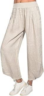 LENXH Women's Cotton and Linen Pants Solid Color Skirt Pants High Waist Wide Leg Pants Fashion Loose Pants
