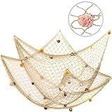 VEIOU Fish Net Decor with Shells, Nautical Mediterranean Style Fishnet Decorations, Ocean Pirat Theme Party Onaments for Christmas Birthday Photo Hanging Display Frame-White