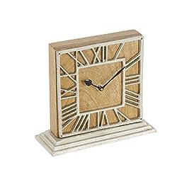 Deco 79 42191 Mango Wood and Aluminum Table Clock, Brown/Silver/Black