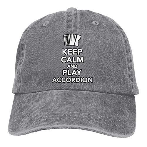 NA Sombrero De Sol,Ocio Sombrero,Sombrero De Deporte,Sombreros Sombrilla Al,Dad Hat,Mantenga La Calma Y Juegue El Acordeón Denim Jeanet Gorra De Béisbol Ajustable Dad Hat