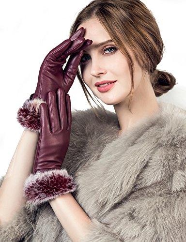 YISEVEN Guantes de cuero de piel de cordero con pantalla táctil para mujer Piel de conejo Cuff,9.0/XXXL