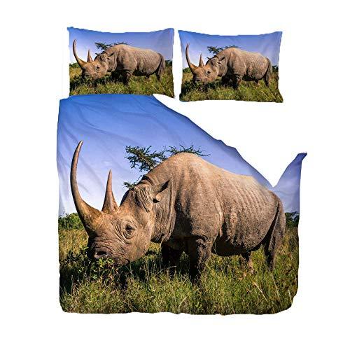 Funda Nordica 220 x 230cm Rinoceronte Gris Funda Nórdica y Funda de Almohada, Microfibra, Impresión Digital 3D, Juego de Cama de Tres Piezas,Hipoalérgico