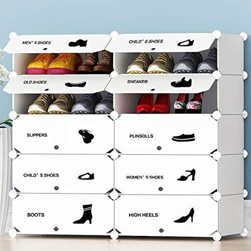 BAKAJI Scarpiera Modulare 10 Cubi Salvaspazio Mobile Porta Scarpe Componibile Modulabile capacità 20 Paia Storage Organizer Portatile Ingresso Casa Design Moderno Dimensione 95 x 37 x 90 cm