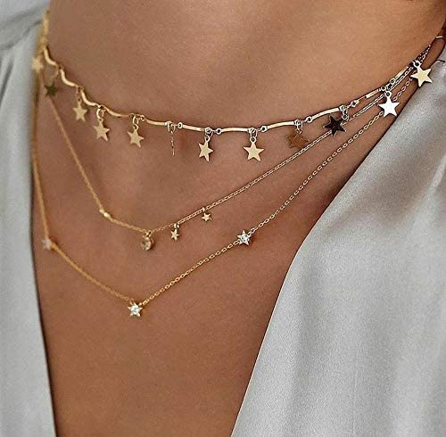 BERYUAN Women Simple Choker Moon Star Choker Necklace Pendant Necklace Trendy Necklace Teen product image