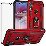 DuoLide for Motorola Moto E 2020 / Moto E7 Case with Tempered Glass Screen Protector,Hybrid Heavy Duty Dual Layer Anti-Scratch Shockproof Defender Kickstand Case Cover, Red
