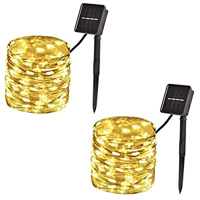 2-Pack, Outdoor Solar String Lights?33ft 100-LED Waterproof Solar Fairy Lights with 8-Modes for Outdoor/Indoor, Solar Christmas Lights for Garden, Party, Christmas Tree Decorations (Warm White)