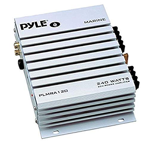 Pyle Hydra Marine Amplifier - Upgraded Elite Series 240 Watt 4 Channel Audio Amplifier - Waterproof, 4-8 Ohm Impendance, GAIN Level Controls, RCA Stereo Input & LED Indicator (PLMRA120)