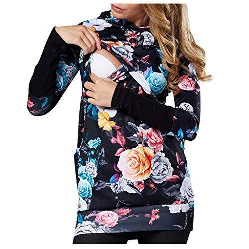 Sweatshirt Longue Maternité Allaitement,SANFASHION Hoodies Florale Femmes Enceintes Manche Longue Patchwork Casual Mode Sweat-Shirt Grossesse