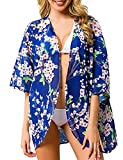 Camisola de Playa para Mujer Cardigan Corto Manga Media Pareos Cubrir Bikini Kimono Estampados de Flor Bikini Cover Up Protector Solar Traje de Baño de Playa para Chica (Flor 6, XL)