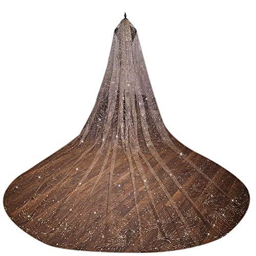 Sijux Brautschleier, elegant geschnittene Kante 2,8 m lang Brautschleier mit Kamm Braut Kathedrale Gold Schleier für Damen Damen