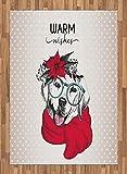 ABAKUHAUS Labrador Alfombra de Área, Palabras Wish Lindo Labrador, Ideal para Sala de Estar o Comedor Resistente a Manchas, 160 x 230 cm, Multicolor