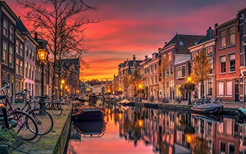 OKOUNOKO Puzzles 1500 Piezas Adultos, Canal De Amsterdam,