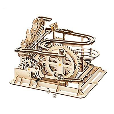Rowood 3D Wooden Marble Run Puzzle Craft Toy, Gift for Adults & Teen Boys Girls, Age 14+, DIY Model Building Kits - Waterwheel Coaster by Rowood