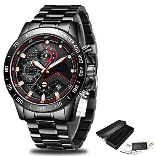 ZTT Herrenuhren Luxuxedelstahl Blaue wasserdichte Quarz-Uhr-Mann-Mode-Chronograph Male Sport Military Watch,F