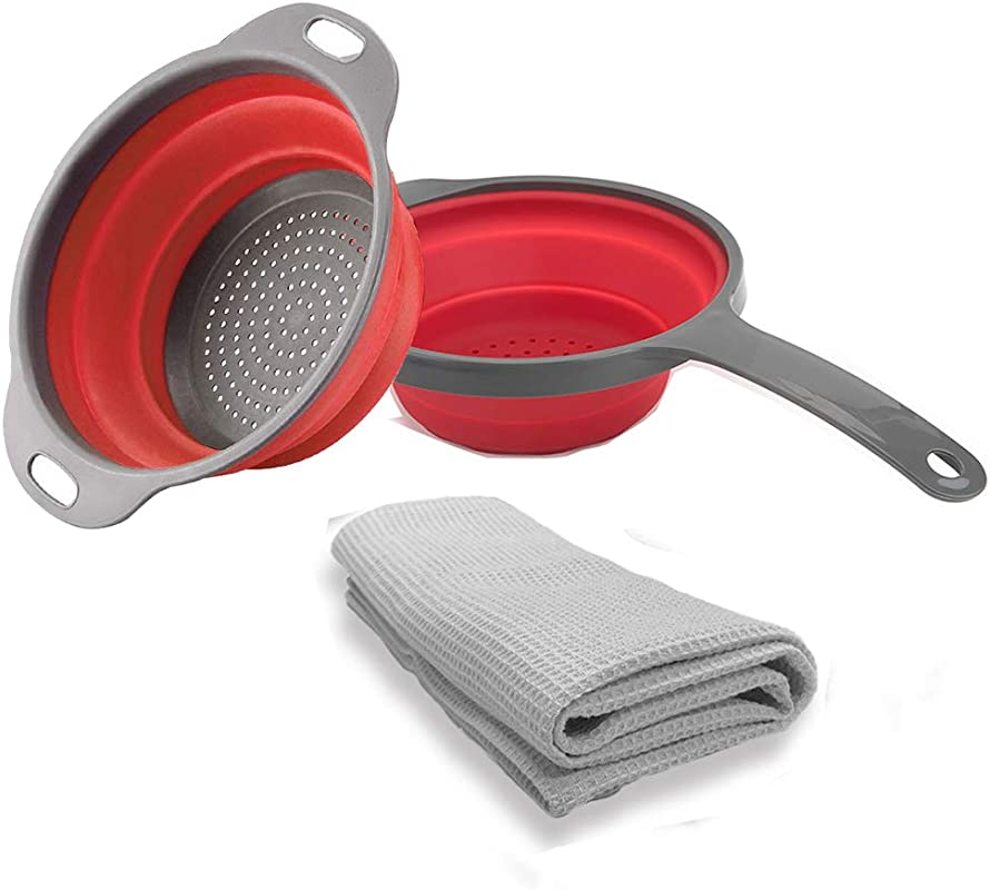 2 Pieces Silicone Collapsible Colander With A Napkin Towel Free 1 Folding Strainers With Handles Space Saver Folding Strainers Colander Capacity Of 2 Quart Red