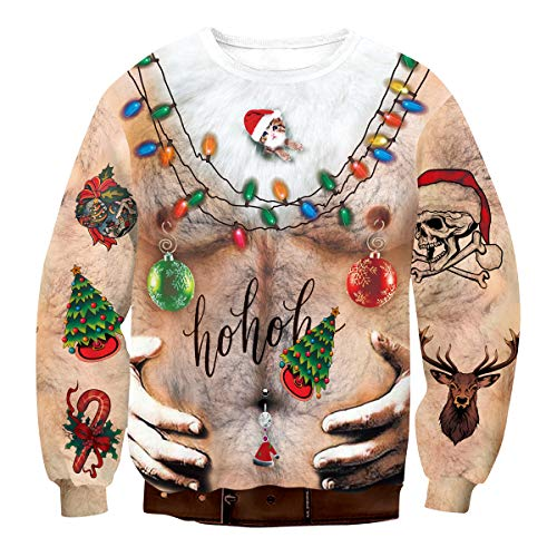 BesserBay Ugly Sweater for Mens Xmas Sweatshirt Merry Christmas Hoodies S