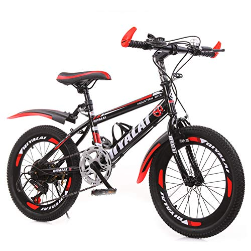 GZMUK 18/20/22/24 Zoll Mountainbike Fahrrad Für Mädchen, Jungen, Herren Und Damen 7 Gang-Schaltung Fahrrad Kinderfahrrad,Rot,18 in