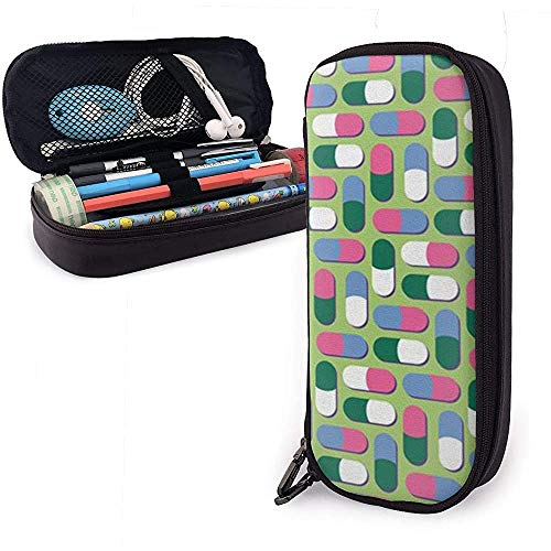 Pencil Case Red and Green Capsules Big Capacity Pen Bag Large Storage