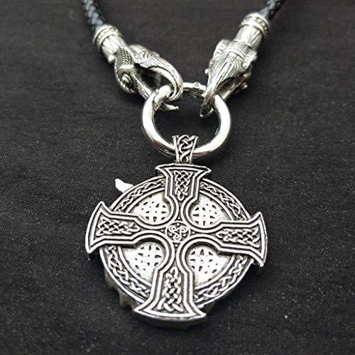 SummarLee 1 Colgante Vikingo Collar de Doble Grifo Grande Joyería Amuleto Religioso Collar Pagano Hombres